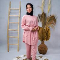 Setelan Tunik Wanita Muslim Polos Motif Kimono Polos Muslimah