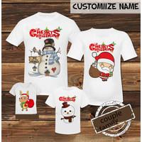 kaos natal keluarga snowman dan santa clause dewasa dan anak anak