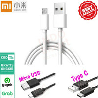 cable data xiaomi type c - Hitam / Micro USB - Putih