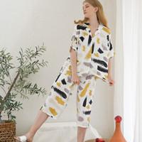 Kaia Set in White - Sleepwear / Piyama Baju Tidur Rayon by RAHA