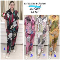Babydoll Batik Baju Tidur Setelan Piyama Wanita Babydoll Rayon DAUN1