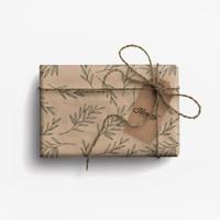 Paket Kertas Kado & Tag Harvest Eco-Friendly Gift Set - Leaves