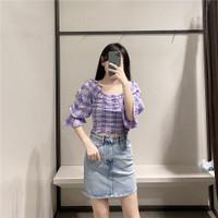 Baju Atasan Blouse Wanita Violet Grid Import