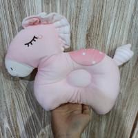 bantal kepala bayi anti peyang kartun 3D / bantal tidur bayi lembut - Merah Muda