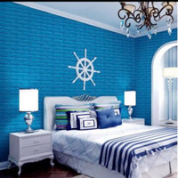 Wallpaper dinding 3D wallfoam 70x77cm high quality 3.5mm - 3.5mm biru