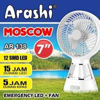 Kipas Angin Portable+Lampu Emergency 7 inch Charge ARASHI AR138 MOSCOW