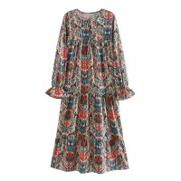 Gaun Long Dress Korea Blue Garden Retro sz L Import