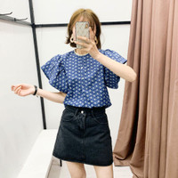 Baju Atasan Blouse Korea Blue Casual Import