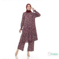 Setelan Muslim Wanita | Freya Set Maroon | Setelan Rayon Viscose