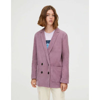 Baju Blazer Wanita Pink Stripe Textured Import