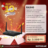 Netgear RAX40 Nighthawk Smart WiFi Router AX4 4 Stream WiFi 6