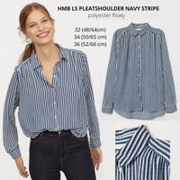 Baju Branded Wanita - H&M LS PLEATSHOULDER NAVY STRIPE