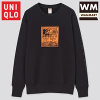 UNIQLO Men Sweater Pria Mickey x Keith Lengan Panjang Black