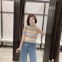 Baju Kaos T-Shirt Wanita Colorful Stripe Import