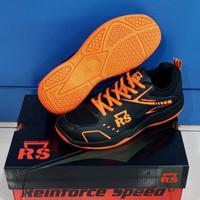 RS Super Series Sepatu Badminton Sepatu Bulutangkis RS - Hitam Orange, 40