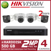 PAKET CCTV HIKVISION 2MP 4 CHANNEL HDD 500GB