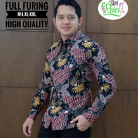MELATI MERAH kemeja batik pria full furing batik solo lengan panjang - PENDEK, M