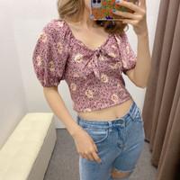 Baju Atasan Blouse Korea Pink With Ribbon Import