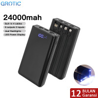 GROTIC Powerbank 24000mAh 6 Output 3 Input 2.1A Power Bank GY60 - Hitam