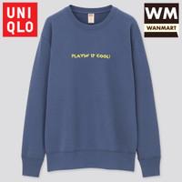 UNIQLO Men Sweater Pria Mickey x Keith Lengan Panjang Blue