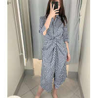 Gaun Pesta Long Dress Korea Blue Stripe Import