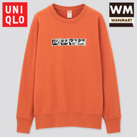 UNIQLO Men Sweater Pria Mickey x Keith Lengan Panjang Orange