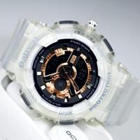 Jam Tangan Casio Baby_G 110 Tali transparan - plat hitam