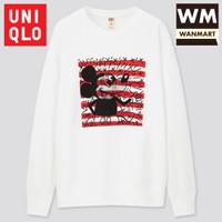 UNIQLO Men Sweater Pria Mickey x Keith Lengan Panjang White