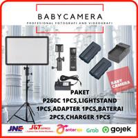 Paket Godox P260C + Stand P260 C Led Video Light P 260c Lighting Vlog