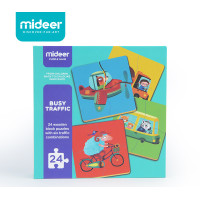 TweedyToys - Mideer Wooden Puzzle (Giggle Animals / Busy Traffic)