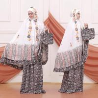 mukena batik cap lukis mlc027 - putih E, All Size