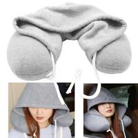 Hooded U Shape Neck Pillow Bantal Leher Dengan Topi Hoodie Travel
