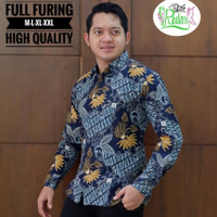 MELATI BIRU kemeja batik pria full furing batik solo lengan panjang - PENDEK, M