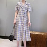 Midi Dress Korea Sexy Purple Mix Grid Import