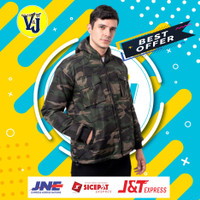 Jaket Parasut Windbreaker Bomber Pria Camo Army Parka Motor Outdoor - ARMY EVEREST, L
