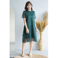 Dress Pesta Brukat / Midi Dress (Majestic Lace Dress) - Hijau