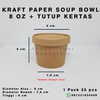 Paper Bowl + Lid Kraft Paper Food Grade - 8 Oz