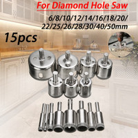 Mata Bor Diamond Coated Hole Saw Drill Bit 6mm-50mm 15 PCS
