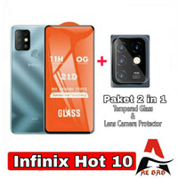 Tempered Glass INFINIX HOT 10 Full Cover BONUS Camera Protector HOT 10