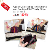 Tas Branded Wanita C0ach Camera Bag Horse and Carriage Print Varsity