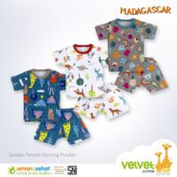 Velvet Junior Setelan Pendek Baju Kaos Oblong Bayi Anak Uk XL 3pcs