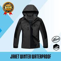 Jaket Gunung Outdoor Pria Waterproof windproof - Abu x Hitam, M