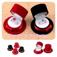 Kotak Tempat Box cincin Anting Kalung Beludru Lamaran Tunangan Nikah - Merah