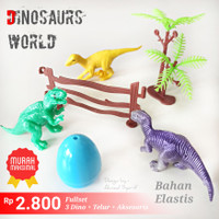3 DINOSAURUS WORLD ANIMAL PLAYSET + AKSESORIS - MAINAN DINO ANAK