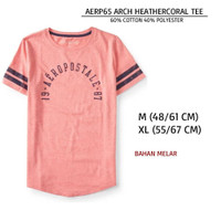 Kaos Branded Wanita - AEROPOSTALE 65 ARCH HEATHERCORAL TEE