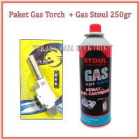 Paket Gas Tourch Korek Pematik + Gas Api Biru STOUL 250mm