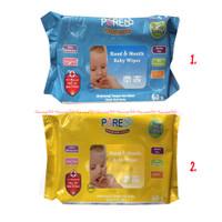 Pure Baby Hand Mouth Baby Wipes 60sheet Tissue Basah Bayi Biru Kuning