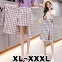 (8207 XL/XXL/XXXL)Charming Self Tie Ribbon Skirt/Korean Midi Skirt