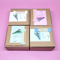 Cotton Bud Vona Bambu Korek Kuping Kayu Alat Pembersih Telinga 200 pcs - Merah Muda
