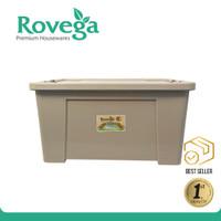 Rovega Kotak Kontainer Plastik Premium dengan 4 Roda 60 Liter Coklat